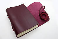 Кожаный блокнот ручной работы COMFY STRAP А5 женский бордовый, фото 3
