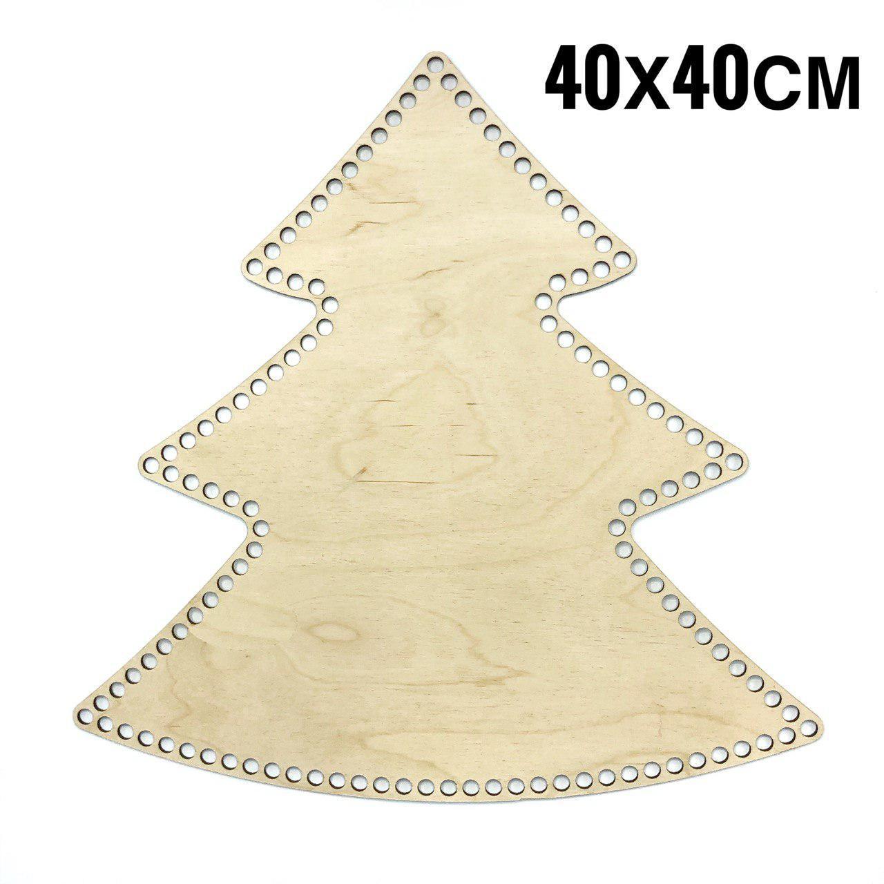 Дно деревянное Елочка для вязаной корзины гладкое 40 см