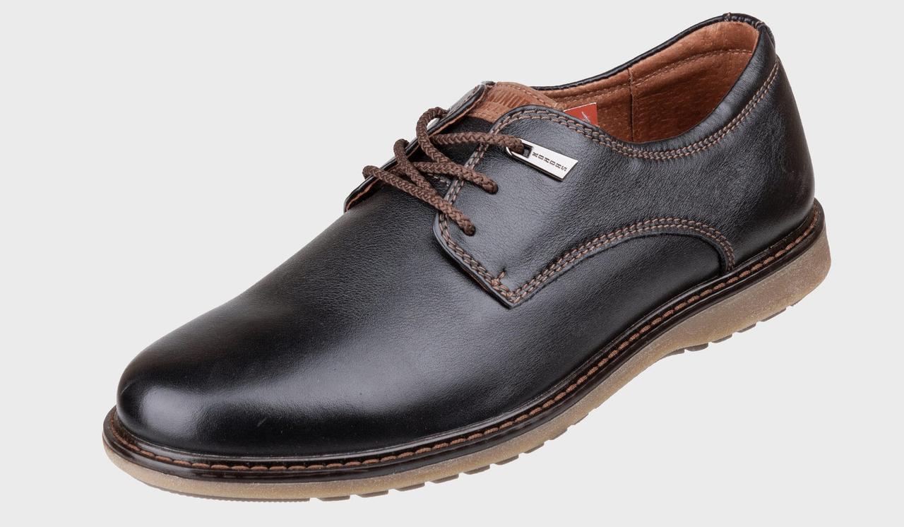 Акционные кожаные мужские туфли на шнурках  KONORS 1105-7-19   43   скидка