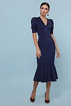 Женское синее платье из замши миди Дания на короткий рукав