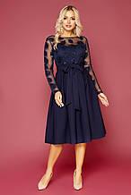 Жіноче ошатне синє плаття Євангеліна д/р розмір S