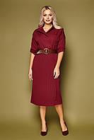 GLEM бордовое платье с плиссировкой Заира д/р