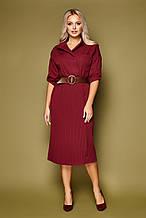 Бордовое платье с плиссировкой Заира на длинный рукав
