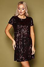 GLEM черное платье с бордовыми пайетками  Ираида к/р