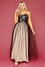 Бежево-черное пышное платье с открытыми плечами Макария б/р размер S, M, L