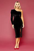 Женское черное велюровое платье на одно плечо Саманта д/р