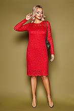 Красное женское платье с гипюром на длинный рукав Сания