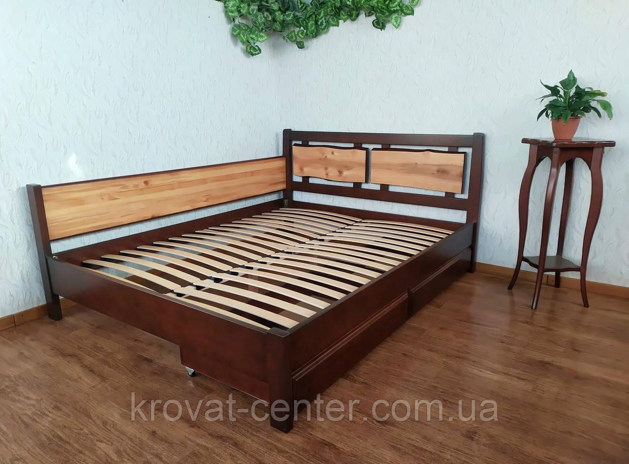 """Двоспальне ліжко з дерева з висувними ящиками """"Магія Дерева Преміум"""""""