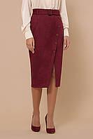 GLEM бордовая замшевая юбка мод. №41