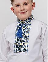 """Вышиванка для мальчика подростка """"Май"""" белая с синей вышивкой длинный рукав 158 - 170 рост"""