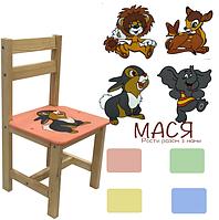 Стул Мася, одинарный, желтый, с зайчиком, 4041