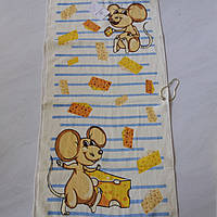 Готовое хлопковое полотенце с мышками и кусочками сыра 36х73 см, фото 1