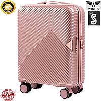 Малый дорожный чемодан полипропилен на 4 колесах розовое золото Wings Украина Одесса