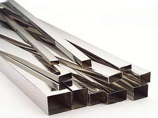 Труба нержавеющая профильная прямоугольная 50х10х1.5 мм полированная, шлифованная, матовая