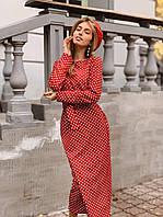 Элегантное красное платье в классический мелкий горошек 42-46 р