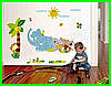 Интерьерная виниловая наклейка детская на стену Зверята паровозик звери, фото 3