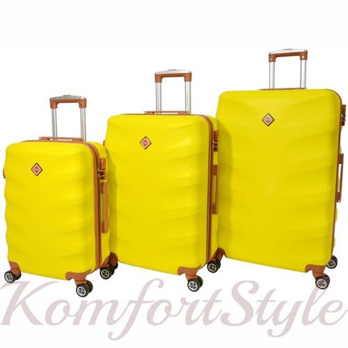 Набор дорожных чемоданов Bonro Next 3 штуки желтый (10642307)