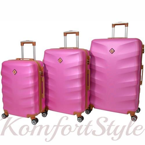 Набор дорожных чемоданов Bonro Next 3 штуки розовый (10642306)