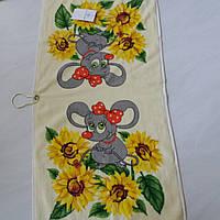 Готовое хлопковое полотенце с мышками и подсолнухами 36х73 см, фото 1