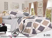 Сатиновый комплект постельного белья с компаньоном ТМ TAG Евро S353 / комплект постільної білизни