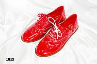Женские мокасины красные глянец,на шнуровке