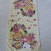 Готовое хлопковое полотенце с мышками, тортом, цветами 36х73 см, фото 1