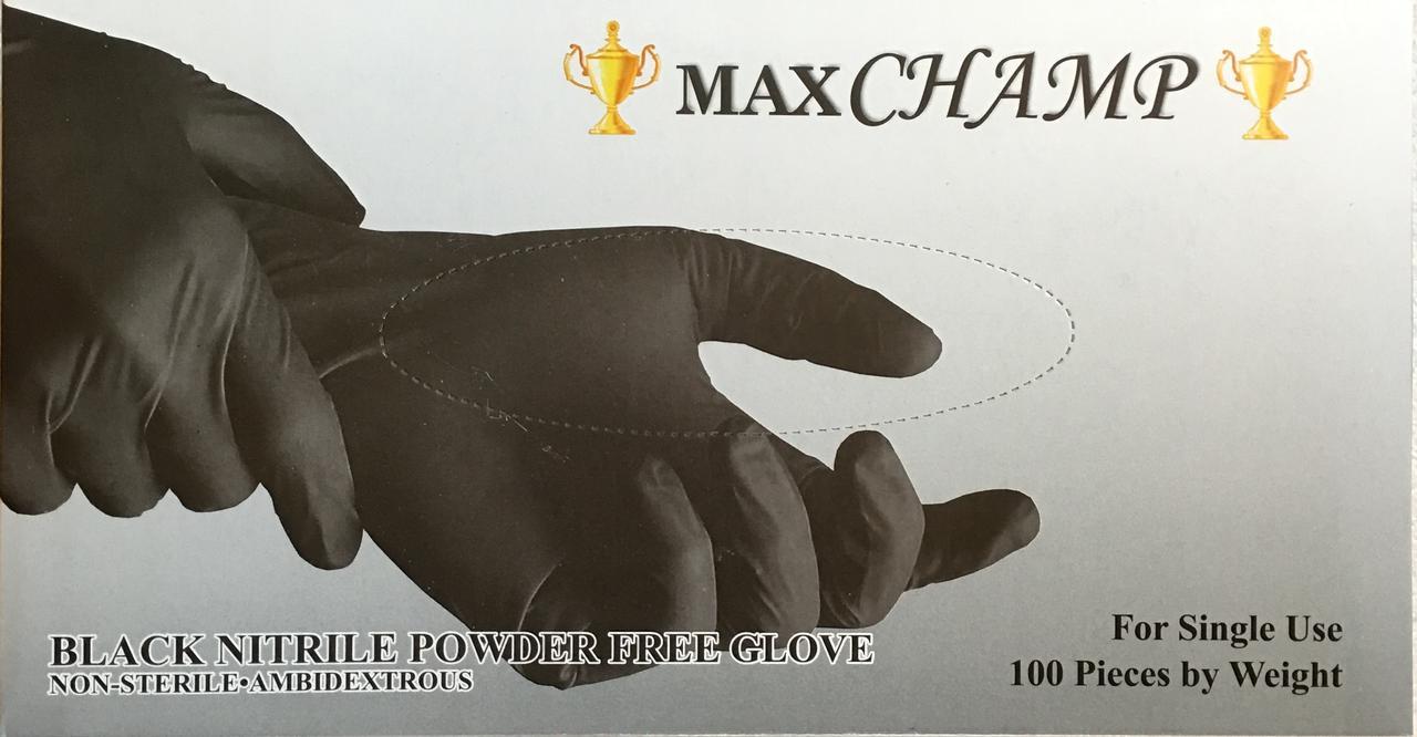 Перчатки нитриловые чёрные (неопудренные), 100 штук , размер М