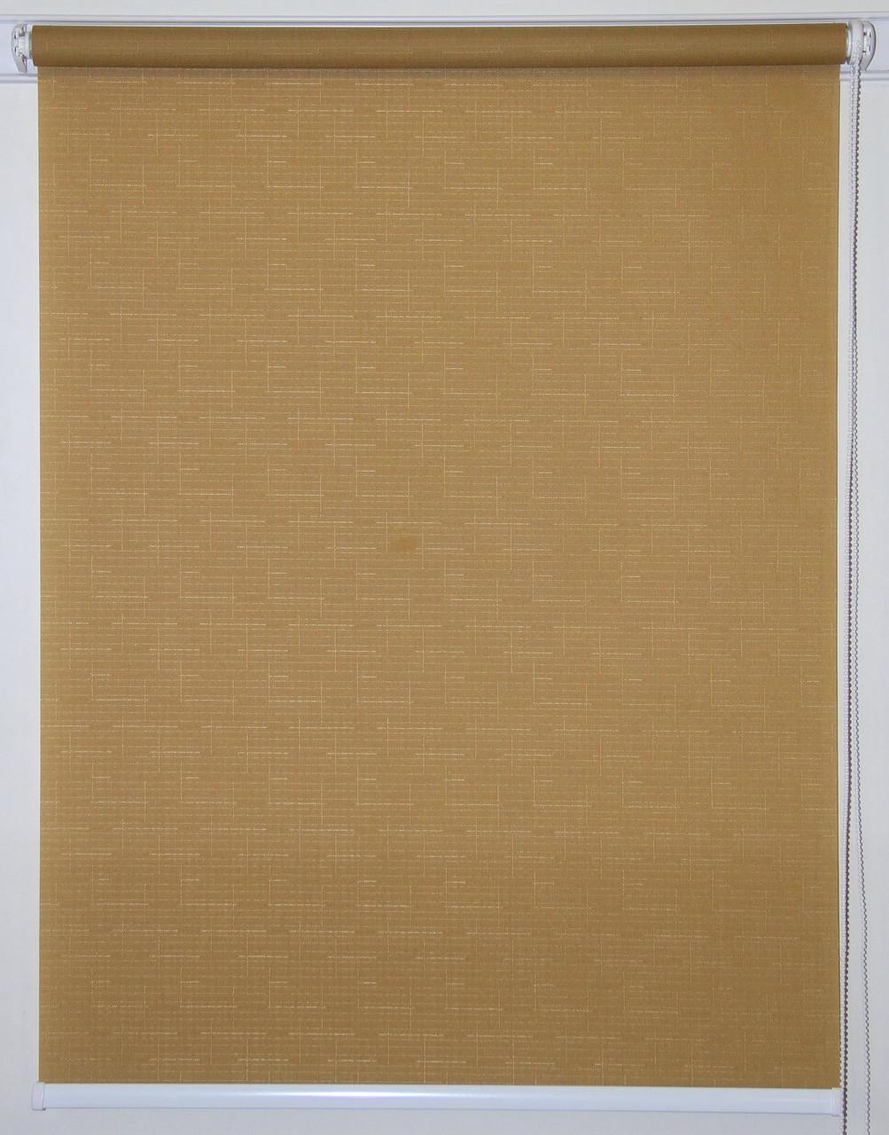 Рулонная штора 875*1500 Ткань Лён 632 Коричневый