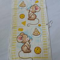 Готове бавовняний рушник з мышатами, сиром і піцою 36х73 см, фото 1
