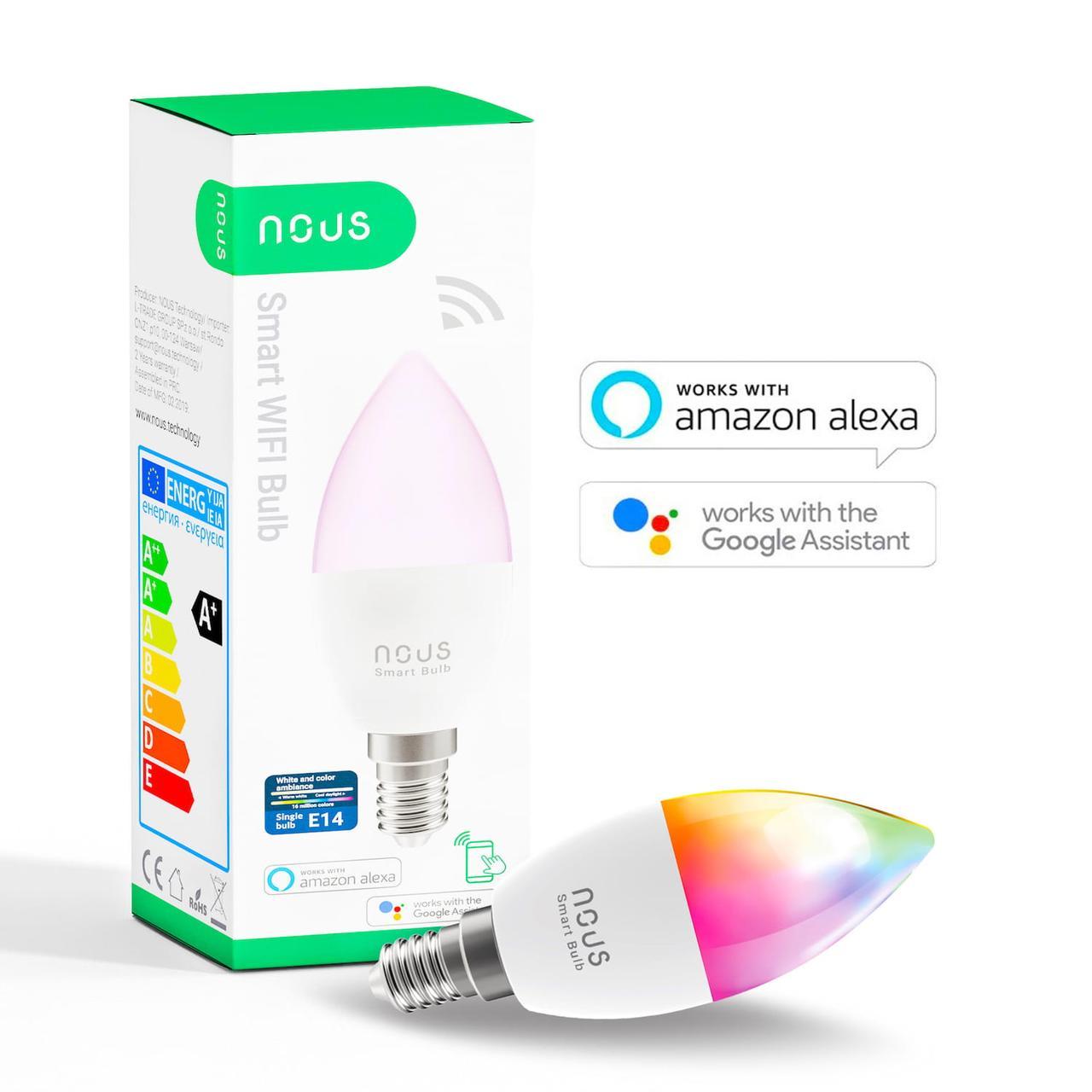 Умная Smart LED лампа NOUS P4 Bulb 4.5W E14 2700-6000K+RGB Wi-Fi