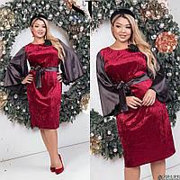 Вечірнє плаття з оксамиту з атласними рукавами (3 кольори) - У/-3690, фото 1