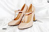 Женские туфли на широком каблуке,светлый беж,глянец