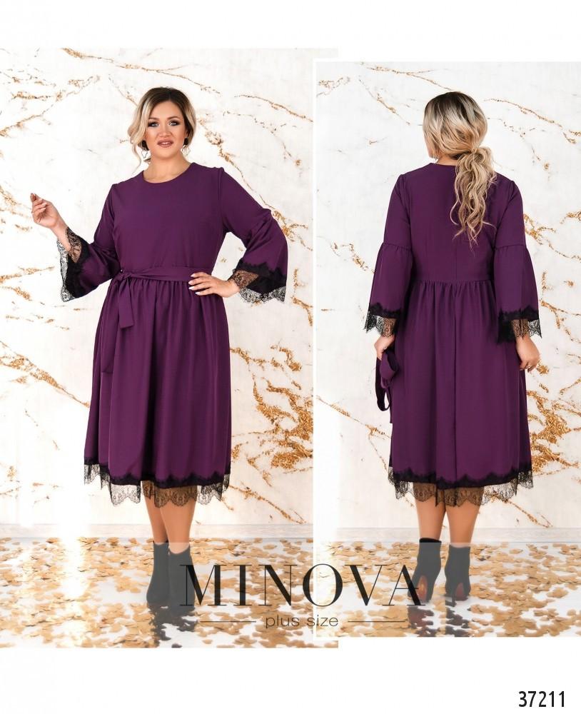 Женское платье с отделкой из французкого кружева и украшением с 50 по 64  размер