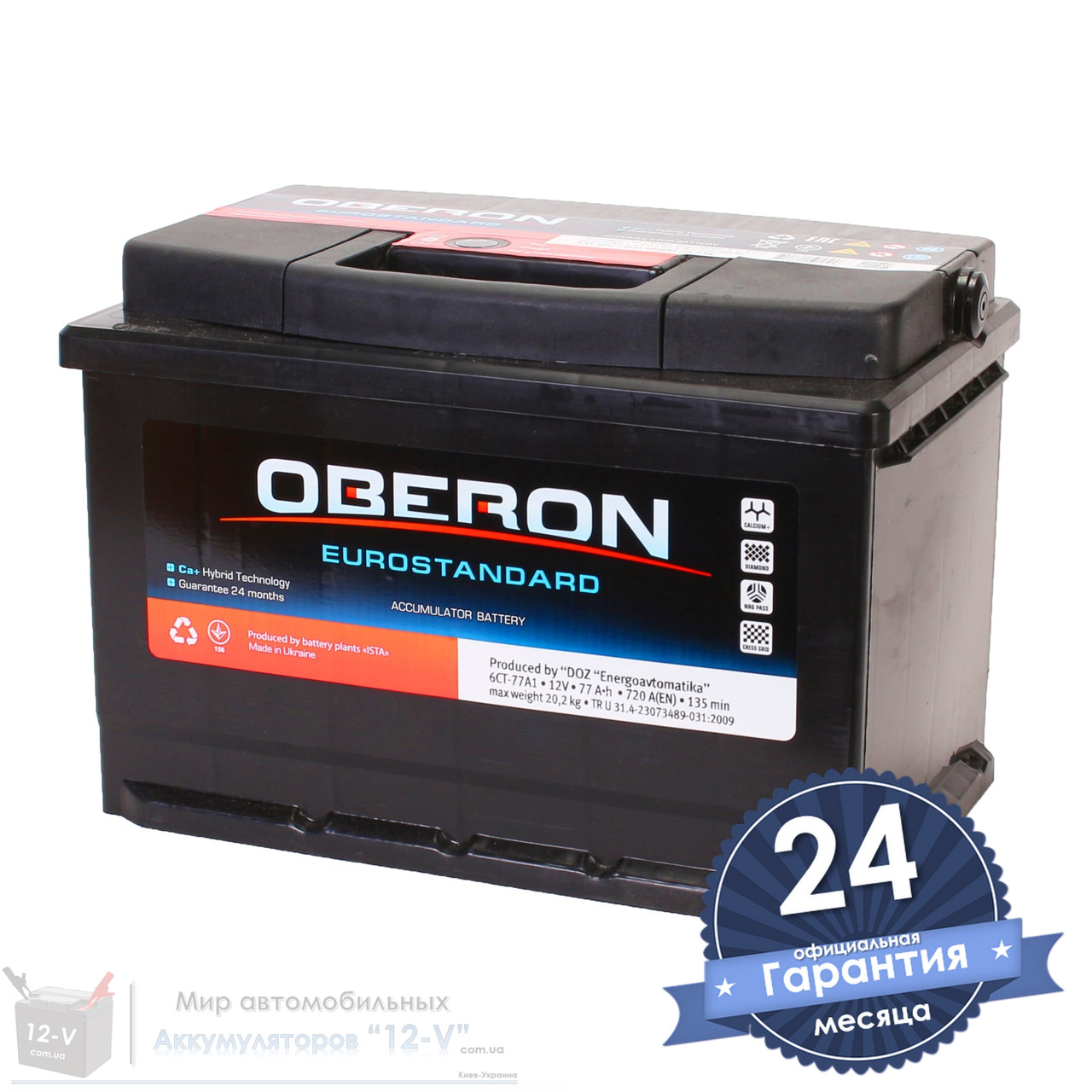Аккумулятор автомобильный OBERON Eurostandard 6CT 77Ah, пусковой ток 720А [–|+]
