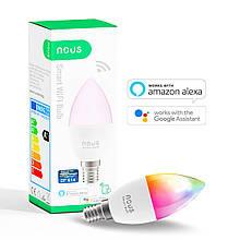 Розумна Smart LED лампа NOUS P4 Bulb 4.5 W E14 2700-6000K+RGB Wi-Fi