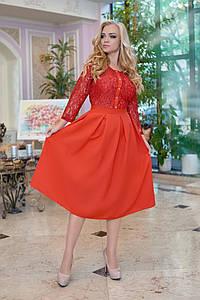 Нарядное женское платье миди с гипюровым верхом