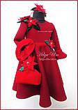 """Тепла Святкова сукня """"Різдвяна зірка"""" для дівчинки 110, фото 9"""