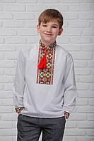 """Вышиванка для мальчика """"Май"""" белая с красной вышивкой длинный рукав 98-152 рост"""
