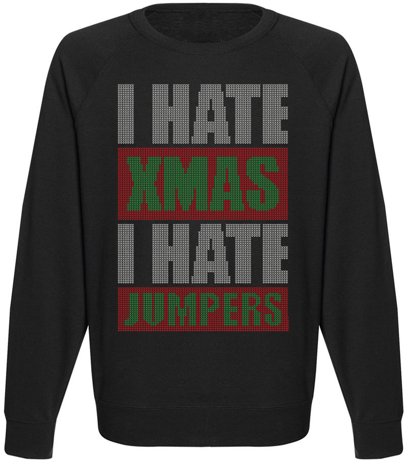 Мужской свитшот I Hate XMAS I Hate Jumpers (чёрный)