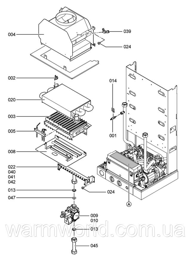 Взрывной чертеж Схема WH1B 2 Дымоход