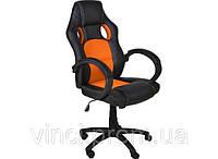 Офисное компьютерное кресло Польша / Офісне крісло чорно-оранжеве / Компютерне крісло ЧОР