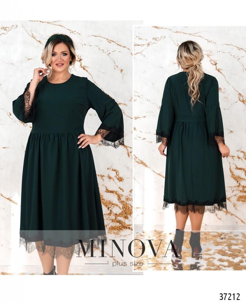 Красивое женское платье зелёного цвета с отделкой из французкого кружева и украшением с 50 по 64  размер