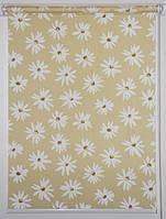 Готовые рулонные шторы ткань Ромашки Жёлтый