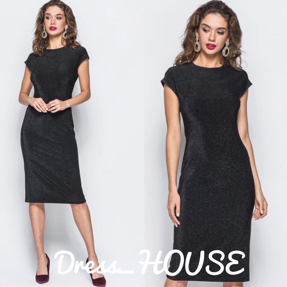 Женское черное платье с люрексом