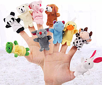 Набір тваринок на пальці, іграшка 7х3см , ляльковий театр . 10 шт., фото 1
