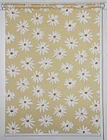 Готовые рулонные шторы 750*1500 Ткань Ромашки Жёлтый, фото 1
