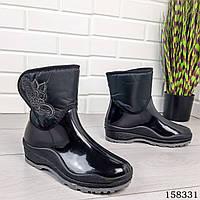 Женские Сапоги демисезонные, черного цвета из литой резины и текстиля, на липучках, внутри легкий утеплитель 1078570251