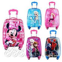 Детский чемодан на подарок ребенку, детский пластиковый чемоданчик на колесиках ручная кладь,
