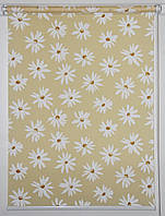 Готовые рулонные шторы 1250*1500 Ткань Ромашки Жёлтый, фото 1