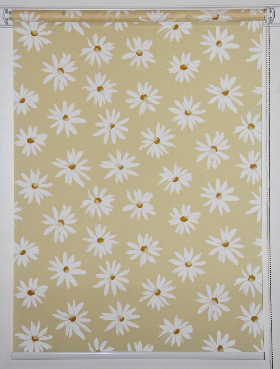 Готовые рулонные шторы 1350*1500 Ткань Ромашки Жёлтый